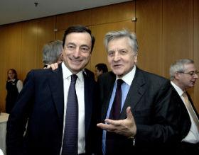 Mario Draghi (po lewej) może zastąpić Jeana-Claude Tricheta (po prawej) na stanowisku szefa EBC fot. EBC