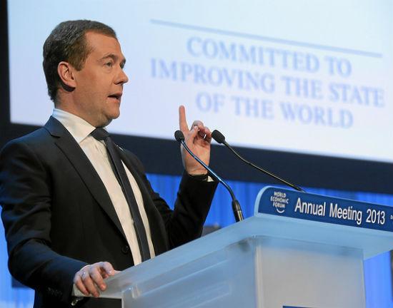 Dmitrij Miedwiediew uspokajał zmartwionych stanem rosyjskiej gospodarki. (CC By SA World Economic Forum)