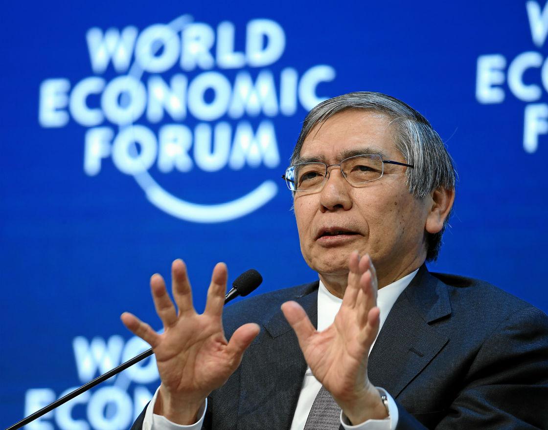 Haruhiko Kuroda, prezes banku centralnego Japonii. (CC By NC SA WEF)