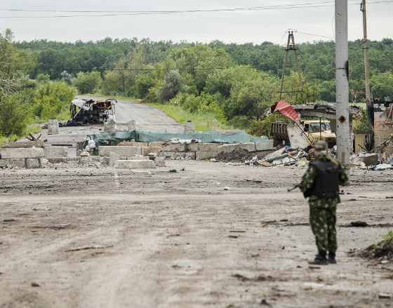 Ukraiński posterunek w pobliżu Sławiańska (CC BY-SA Sasha Maksymenko)