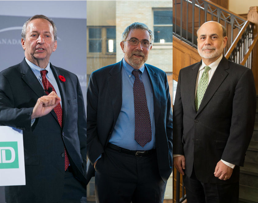 Od lewej: Larry Summers, Paul Krugman, Ben Bernanke (CC BY-NC-ND Canada 2020, CC BY Commonwealth Club, CC BY-ND Gerald Ford School of Public Policy)
