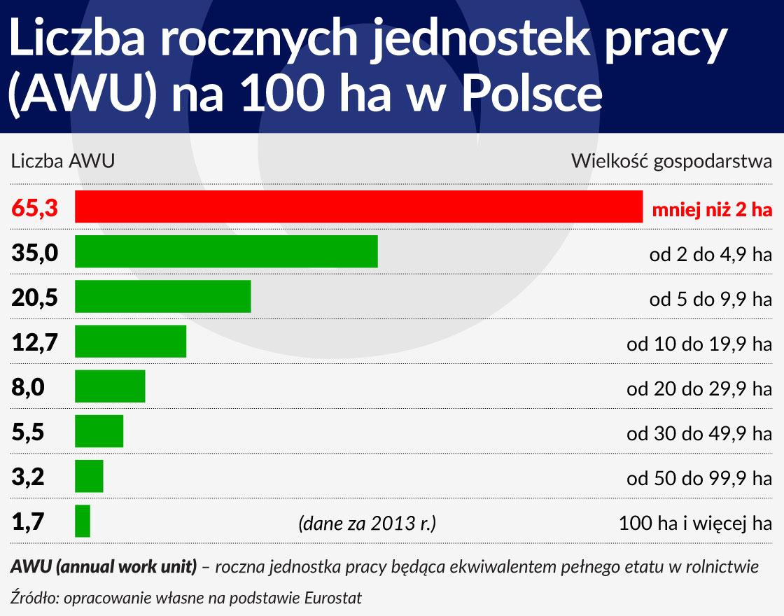Liczba rocznych jednostek pracy (AWU) na 100 ha w Polsce