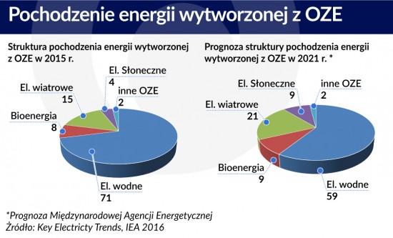 Pochodzenie energii wytworzonej zOZE