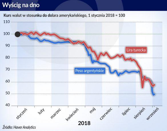 Argentyna_Turcja_kurs walut_do USD_2018_otwarcie