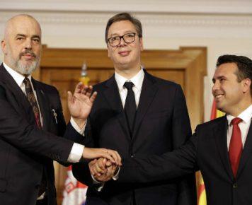 "OBUCINA_Mała ""strefa Schengen"" na Bałkanach Zachodnich_2_Edi Rama_Aleksandar Vučić_Zoran Zaev_PAP_EPA"