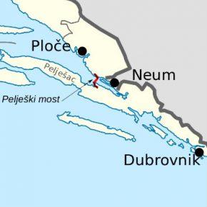 Croatia Peljesac bridge map kwadrat