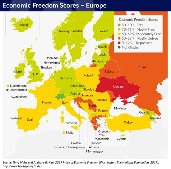 Baltic states high up on the 2017 economic freedom ranking the european region encompasses nations as diverse as russia switzerland iceland and greece the population weighted average gdp per capita for the publicscrutiny